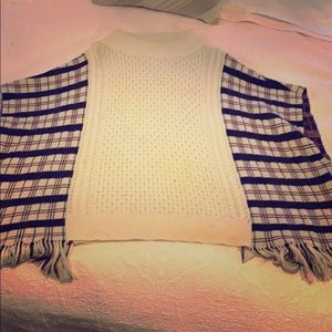 French Connection Plaid & off white knit poncho